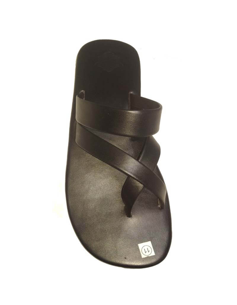Genuine Leather Chappals For Men- Black